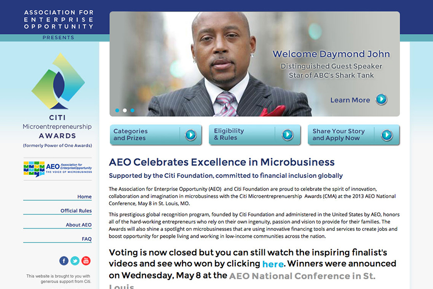 AEO Citi Microbusiness Awards website