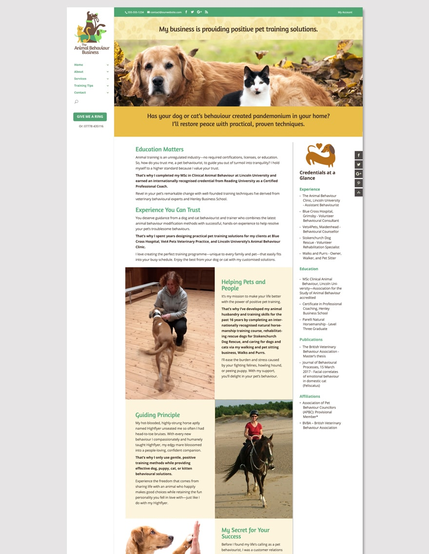 animal behaviour business website 3